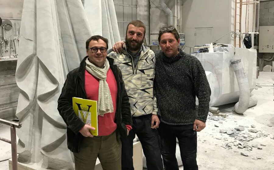 Allrus gallery team visits the workshop of Aidan Salakhova in Carrara.