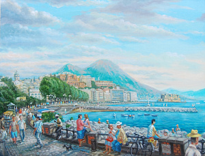Embankment in Naples. Rivera di Chiaia.